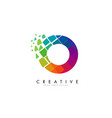 letter o design with rainbow shattered blocks vector image vector image
