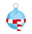 merry christmas ball hanging with scarf vector image