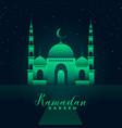 mosque silhouette with green lights ramadan kareem
