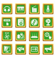 multimedia internet icons set green square vector image vector image