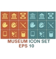 museum icon set on brown and blue background vector image
