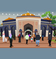muslims going to mosque to pray vector image vector image
