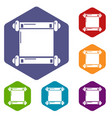 old scroll parchment icons hexahedron vector image