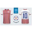 paraguay soccer jersey or football kit mockup vector image vector image