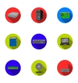 Personal computer set icons in flat style Big vector image