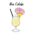 pina colada cocktail with pineapple decorations vector image vector image