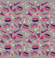 Seamless birthday pattern with champagne and cake