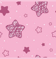 seamless children s pink stars background vector image vector image