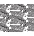seamless pattern with Hand drawn fish vector image vector image