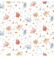 seamless pattern with plants and terrazzo vector image vector image