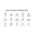 set green energy thin line icons icons vector image