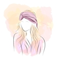 Silhouette woman in pink turban vector image vector image