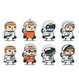 space sci-fi cosmonaut astronaut spaceman icons vector image vector image
