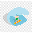 surfer riding the wave isometric icon vector image vector image