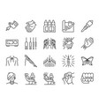 tattoo line icon set vector image
