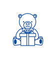 teddy bear with gift box line icon concept teddy vector image