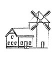 traditional old windmill building farm vector image vector image