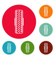 tread pattern icons circle set vector image