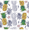 tropical seamless pattern with pineapples vector image