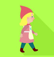 walking woman gnome icon flat style vector image vector image