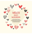 Wreath of hand-drawn hearts vector image