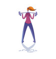 young girl doing exercise with barbell back view vector image