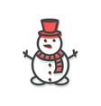 snowman small icon christmas vector image