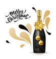 3d gold champagne bottle christmas type vector image