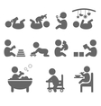 Baby action flat icons isolated on white vector image