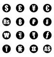 black currency symbols icon set vector image vector image