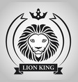 black king lion head mascot on white background vector image