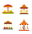 carousel carnival horse icons set flat style vector image