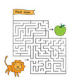 cartoon lion maze game vector image vector image