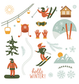 Christmas set elements Ski resort vector image