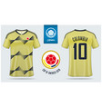 colombia soccer jersey or football kit mockup vector image vector image