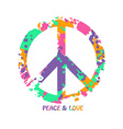 Colorful Peace And Love Hippie Symbol vector image