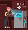 computer safety and computer crime concept vector image