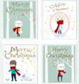 cute merry christmas cartoon card vector image