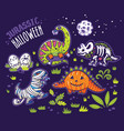 dinosaurs in costumes for halloween vector image