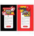 emblems info about sales super discounts adverts vector image