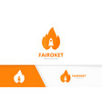 fire and rocket logo combination flame vector image
