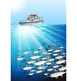 Fishing boat and fish under the sea vector image vector image