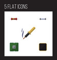 flat icon technology set of unit repair cpu and vector image vector image