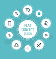 flat icons twins zodiac sign scales and other vector image vector image