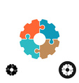 Gear shape puzzle logo or infographic base concept vector image vector image