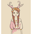 Girl with horns Astrological sign of Capricorn vector image