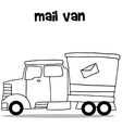 Hand draw of mail van transportation vector image vector image