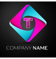 Letter T logo symbol in the colorful rhombus vector image vector image