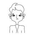 line sad man with elegant clothes and hairstyle vector image