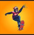 monkey on playing skateboard vector image